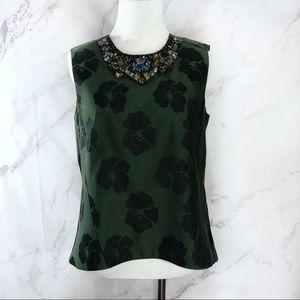 Tory Burch Green Floral Jewel Neck Blouse